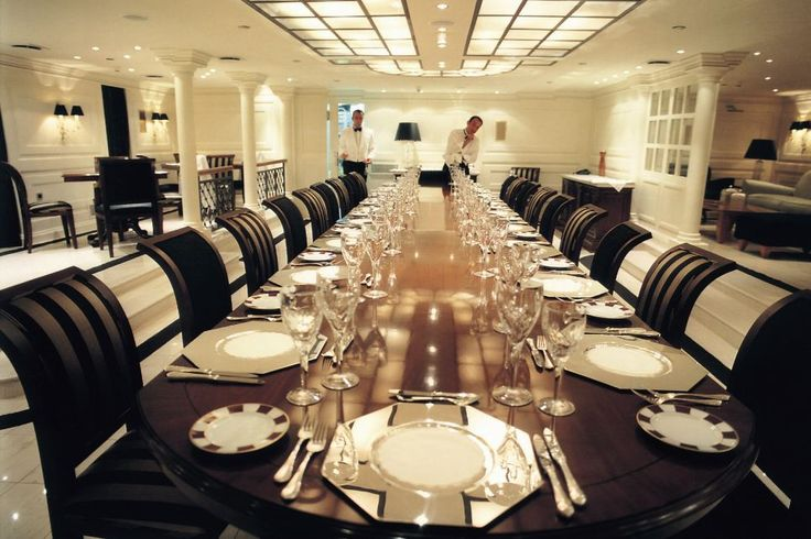 The dining room on board Aristotle Onassis' yacht, the Christina.