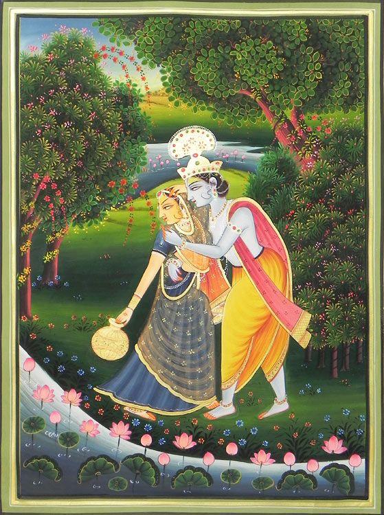 Krishna Embraces Radha (Miniature Painting on Silk Cloth - Unframed))