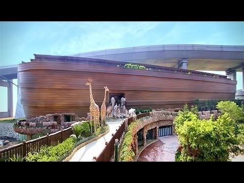 Built in 2009, the Noah's Ark Theme Park located in front of the Tsing Ma Bridge in Hong Kong, measures at a massive 450ft long and 75ft wide.  Three Billionaire brothers built a life-size replica of Noah's Ark in Hong Kong. In this 210tuesday.