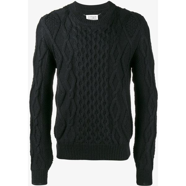 Maison Margiela Cable Knit Jumper (2.150 BRL) ❤ liked on Polyvore featuring men's fashion, men's clothing, men's sweaters, blue, mens cable knit sweater, mens wool sweaters, mens wool cable knit sweater, mens blue sweater and mens cable sweater