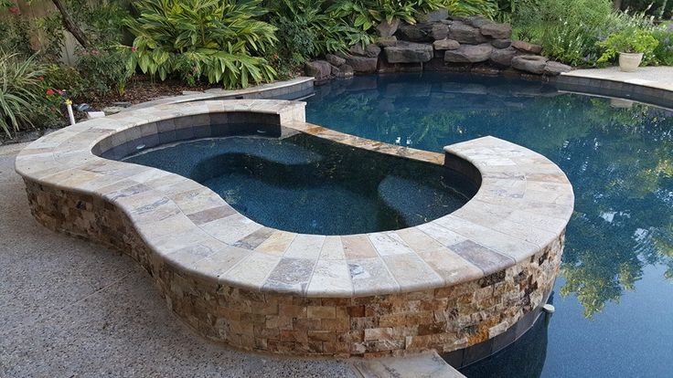 Renovated Pool With Pebble Plaster Travertine Coping And