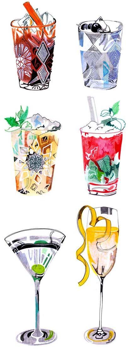 Gorgeous and colorful cocktail illustrations by artist Hennie Haworth