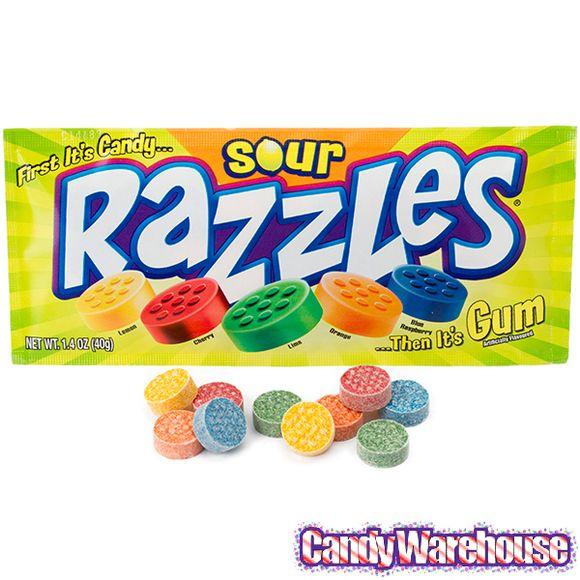 Razzles Candy Packs Sour 24 Piece Box Razzles Candy Sour