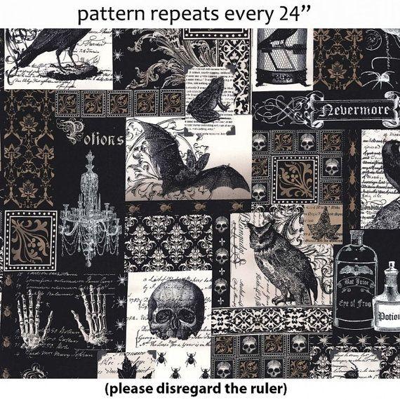 Nevermore Collage Poe tissu Michael Miller 1 Yard par TheCraftyTree