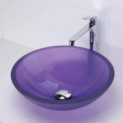 DECOLAV Translucence Vessel Sink In Frosted Glass Violet, Frosted Violet