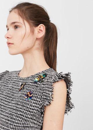 Платье из твида с бисером | MANGO МАНГО