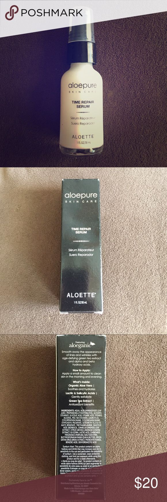 aloepure Time Repair Serum Formulated for all skin types, this non-irritating, lightweight formula absorbs quickly to diminish the appearance of fine lines and wrinkles for a renewed radiance.   ❗️😍☺️ALWAYS OPEN TO OFFERS. PLEASE USE THE OFFER BUTTON TO SUBMIT OFFERS. ☺️😍❗️  💥✨ ALSO DONT FORGET TO TAKE ADVANTAGE OF THE AWESOME BUNDLE DEAS!!!!! ✨💥 aleopure Makeup