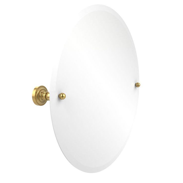 Dottingham Polished Brass 22 Inch Round Tilt Beveled Mirror Allied Brass Wall Mirror