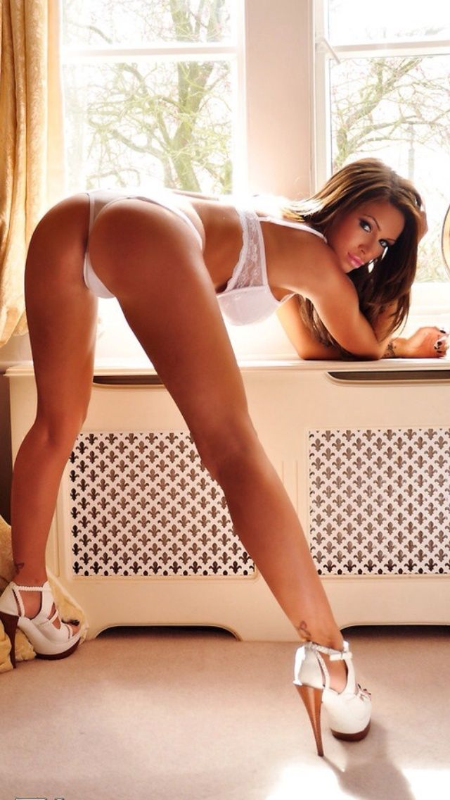 Bent heels brunette over high nude