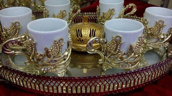 Arabic mug gold coffee set service cups ottoman tray mirror