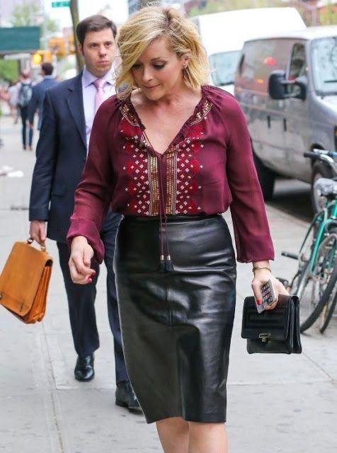 Jane Krakowski Leather Skirt Nahkahame Vaatteet