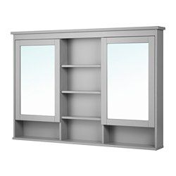 """IKEA - HEMNES, Mirror cabinet with 2 doors, gray, 55 1/8x38 5/8 """", , The adjustable shelves are extra heat- and impact-resistant and have a high load-bearing capacity since they are made of tempered glass.The mirror comes with safety film on the back, which reduces the risk of injury if the glass is broken."""
