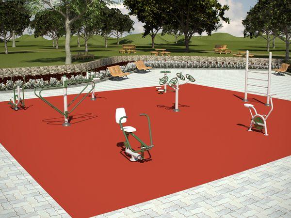 El pack de 8 elementos de equipos deportivos crea un área de fitness al aire libre para 14 personas.