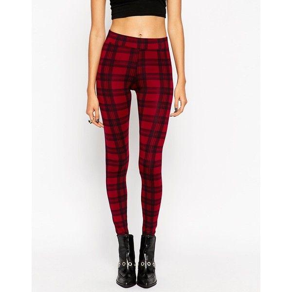 ASOS Leggings in Plaid Check ($33) ❤ liked on Polyvore featuring pants, leggings, plaid leggings, tartan pants, tall leggings, checkered pants and tall pants