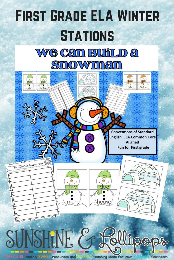 Snowy Fun for First Grade:  ELA Stations aligned with Common Core for Conventions of Language. Compound Words, Contractions, Sentence Structure and More!