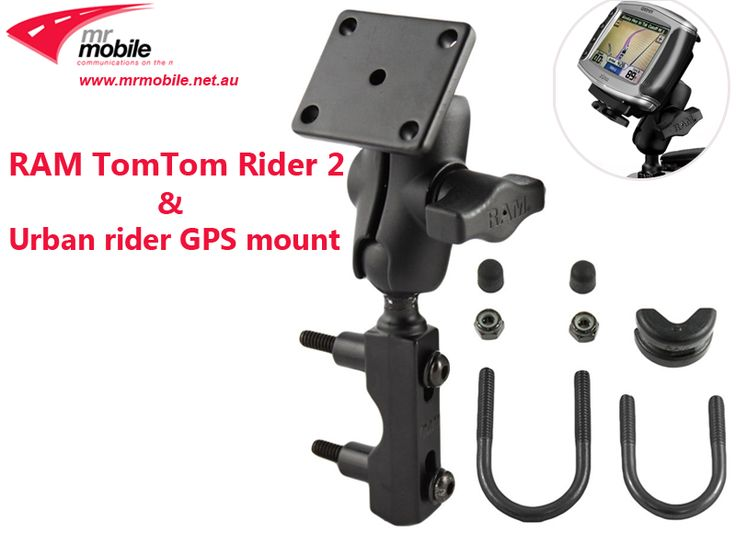 "The RAM Motorcycle mount for TOM TOM RIDER and URBAN RIDER   This mount can attach to either the brake/clutch reservoir or any round rail that is 0.5"" to 1.25"" in diameter, using the U-bolt.  Alternatively the M8 or Centre Fork stem mounts, YOU CHOOSE the correct Base mount for your bike."