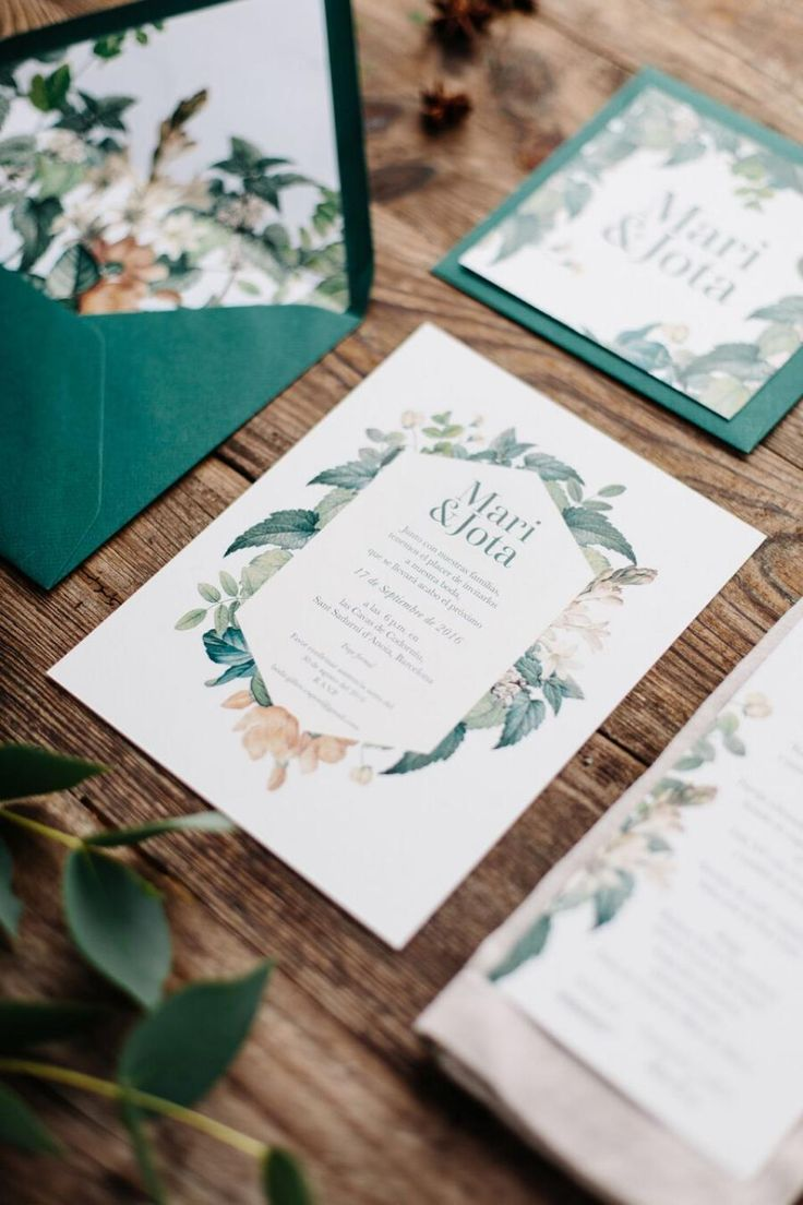 trendy modern floral and greenery wedding invitation cards