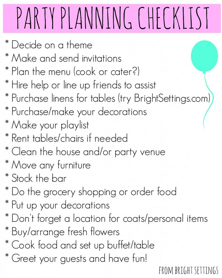 Party Planning Checklist A Free Printable That Can Be Easily Adapted For