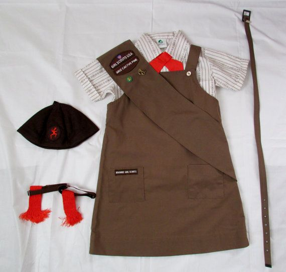 Vintage 1970s Brownies Uniform / Girl Scout Uniform.  This was the brownie uniform I had, but I think my jumper looked a little different.  This is an earlier version of mine, but the rest is spot on!  Love it!