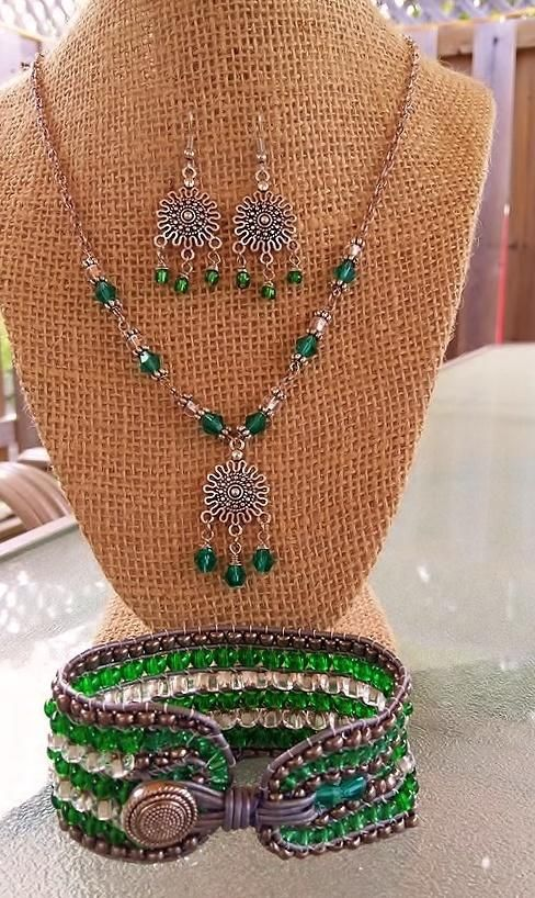 Emerald/Silver Parure by It's A Wrap - Bracelets & More