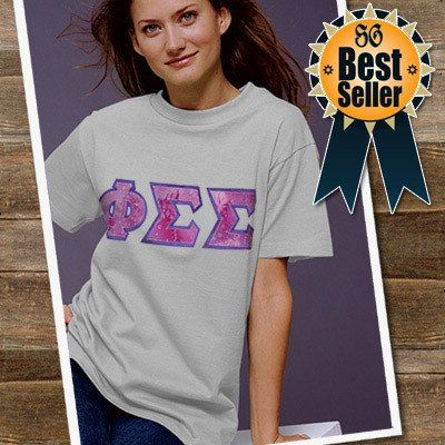 Sorority Lettered T Shirt Gildan 5000 Twill Sorority