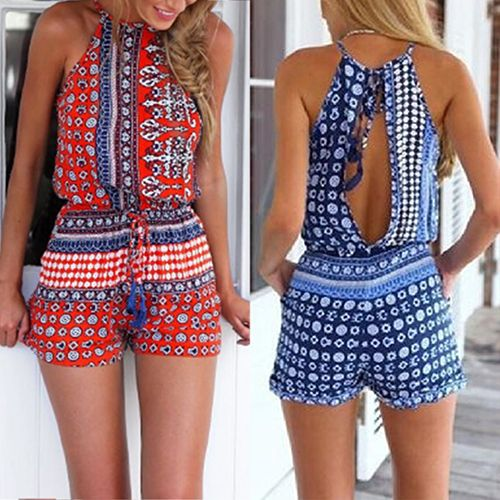 Women's Sexy Bohemian Print Halter Neck Backless Sleevelesss Jumpsuit Playsuit