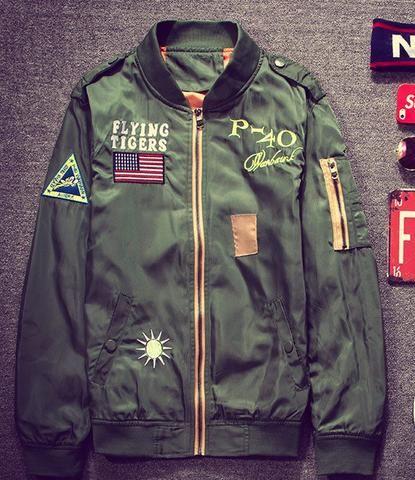 Flight Pilot Jacket Coat army green Bomber Ma1 Men Bomber Jackets Nasa Embroidery Baseball Military tiger hip hop jackets male - Five Points Supply Co.