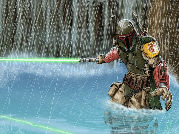 Boba with a Lightsaber