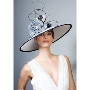 Royal Milliner Rachel Trevor-Morgan - Fine straw picture hat with stripe flower and quills Spring 2014