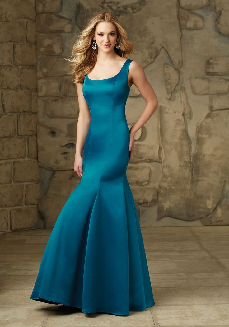 Long Satin Bridesmaid Dress Designed by Madeline Gardner. U-Back with Side Zipper Removable Back Bow. Shown in Marine.