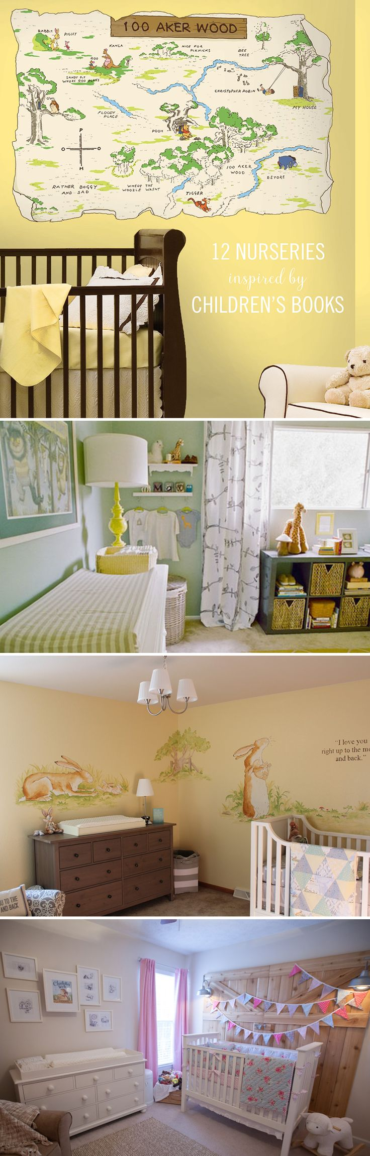 Books can be the most influential sparks of imagination. They bring you to another world within your mind — and children's books are where it all starts. So why not let those stories inspire their room? These literary nurseries will transport your family right into your favorite story. Click for more nursery ideas inspired by children's books.