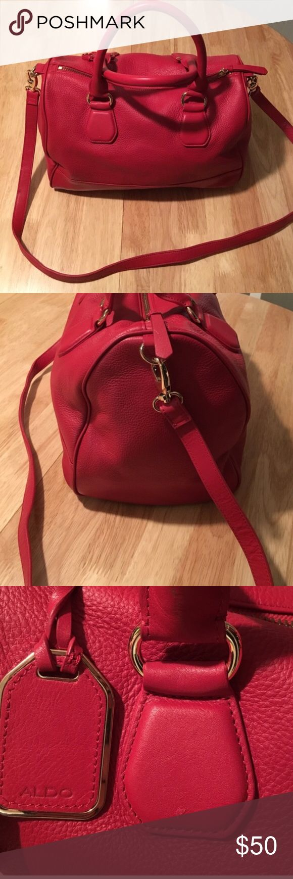 ALDO large red leather bag - crossbody or handles so versatile and fits so much! no trades. bundle for discount. formal offers only. Aldo Bags Crossbody Bags