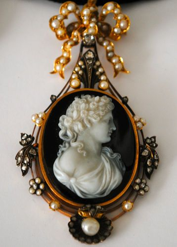 Antique Victorian French Cameo, Gold, Diamonds, and Pearls, c. 1860