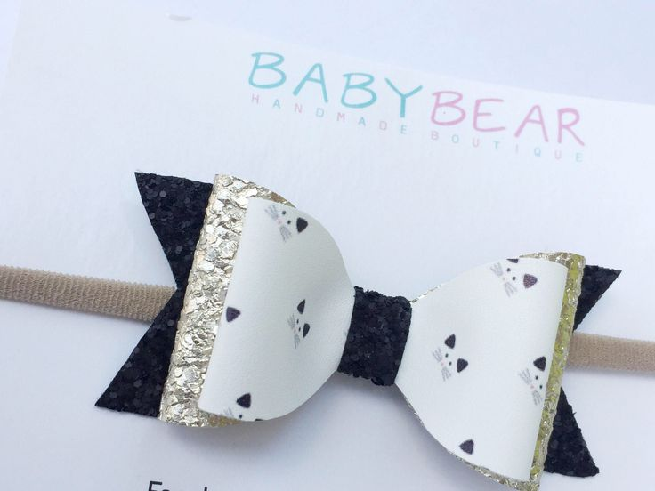 Cat Bow, Girls Hair Accessory, Kitty Bow, Leather Bow, Glitter Bow, Girls Hair Bow, Girls Bow, Hair Clip, Headband by BabyBearHandmadeB on Etsy https://www.etsy.com/ca/listing/549701641/cat-bow-girls-hair-accessory-kitty-bow