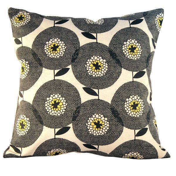 Flowerfields black cushion - hardtofind.