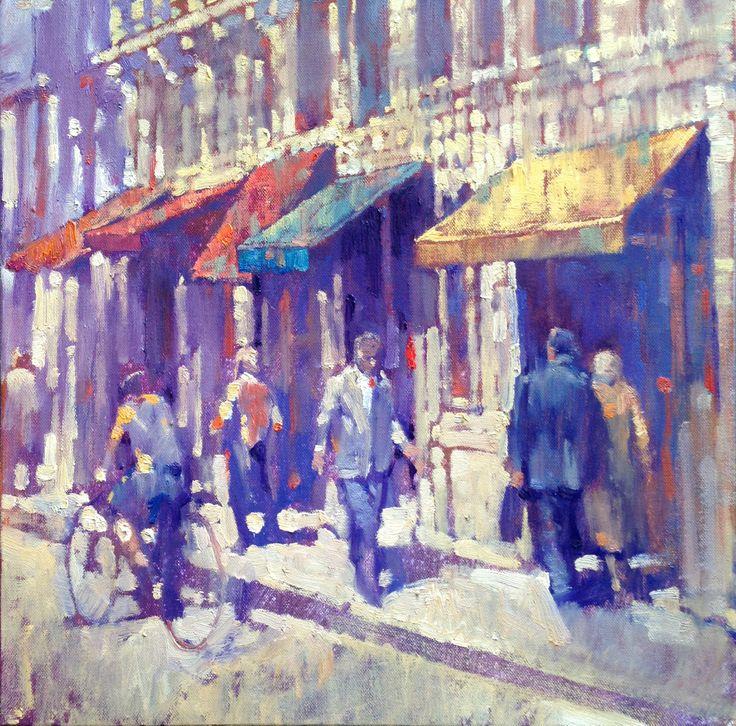 Awnings, street near Palais Chaillot, Paris. Oil on linen by David Hinchliffe.  www.davidhinchliffeartist.com.au