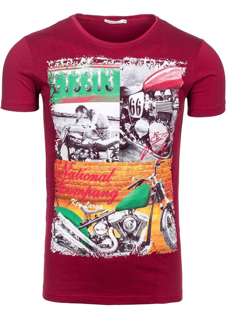 T-shirt męski TMK 1368 bordowy BORDOWY | Odzież męska \ T-shirty \ Z nadrukiem Sale% | Denley - Odzieżowy Sklep internetowy | Odzież | Ubrania | Płaszcze | Kurtki