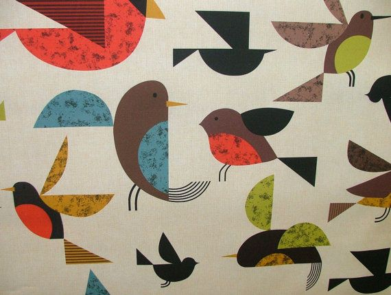 Scandinavian Happy Bird Photo Digital Printed Full Colour Designer Cotton Curtain Upholstery Fabric - Free UK Postage