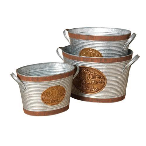 "Set of 3 galvanized metal ""Pumpkin Patch Farms"" buckets"