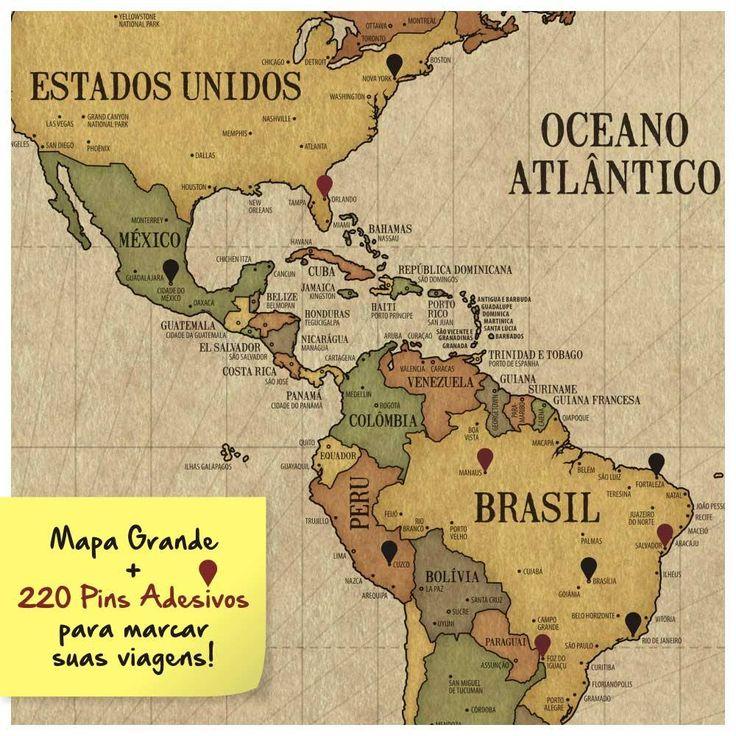 Mapa para marcar viagens. Pôster Mapa-Múndi Vintage A1 + 220 Pins Adesivos VI8968