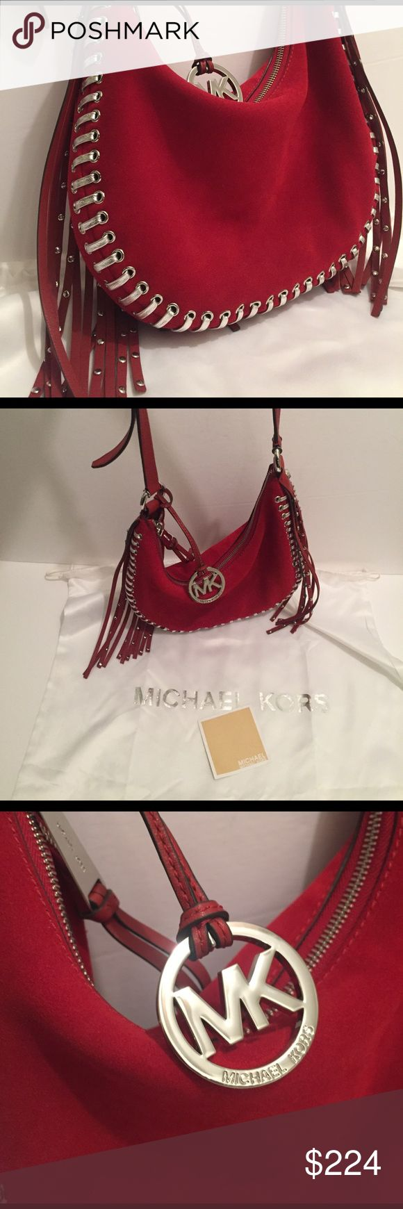 Michael Kors Rhea Grommet Small Red Suede Bag Long fringe on both sides is studded with silver nail heads. Genuine suede leather. MK hardware. Leather strap with a 22 inch drop is adjustable. Zip top closure closure. Detailed whipped stitching in leather. Silver MK hang charm. Inside signature lined. Back inside wall a zipper compartment. Inside front wall 2 slip pockets. Measures 9 inches High, 12 inches wide, by 2 inches deep. Never used bag. Should part has very little discoloration, see…