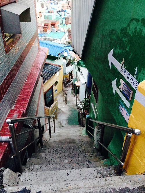 One of the hundreds of alleyways in GamCheon Culture Village in Busan, South Korea.