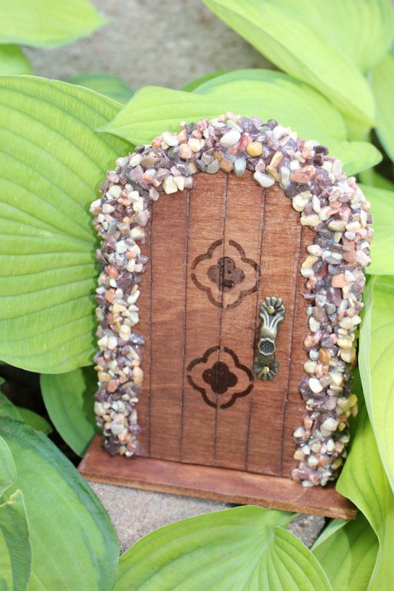 Miniature Wood Fairy Hobbit Garden Door Natural by TheFabledDoor, $15.00