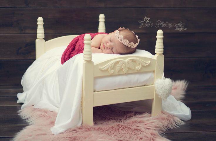 Newborn girl professional photos In studio IKEA doll bed diy