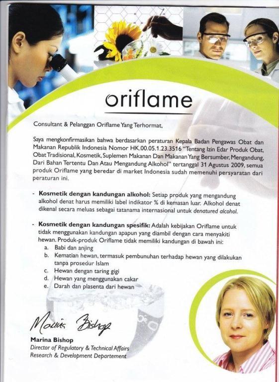 Oriflame Halal? smak surat dari oriflame indonesia mengenai produk2 oriflame cekidot yaa