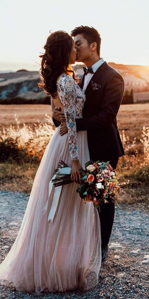 long sleeve wedding dresses straight lace blush open back tali