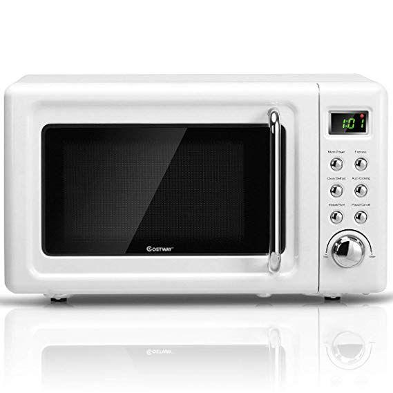 Amazon Com Costway Retro Countertop Microwave Oven 0 7cu Ft 700