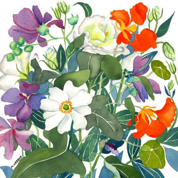 Botanical Flowers Mixed Bouquet Watercolour by michelewebber