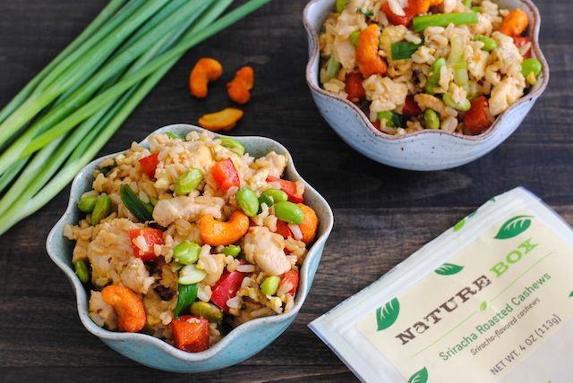 Sriracha Cashew Chicken Fried Rice - brown rice, lots of veggies and chicken make this a colorful and flavorful wok meal!