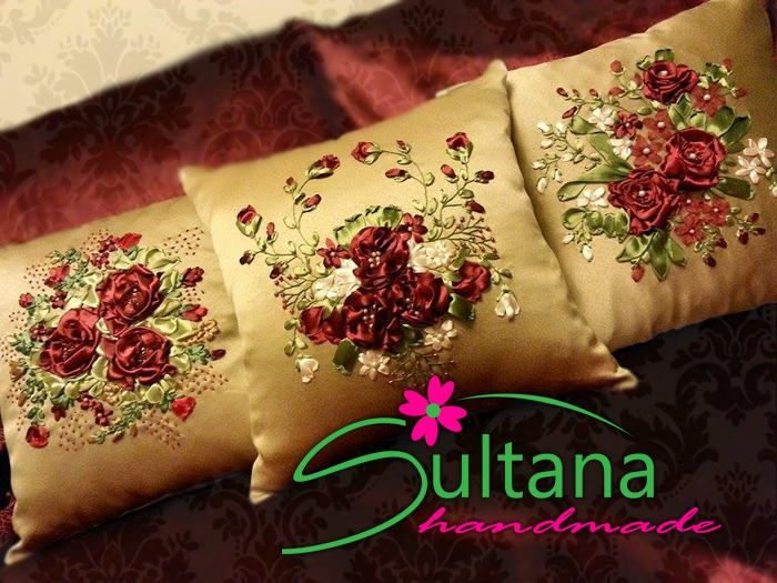 Handmade embroidery with silk ribbons cushions for more visit https://www.facebook.com/sultanahandmade